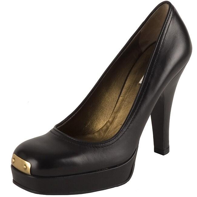 e5dac42b4de19 Shop Miu Miu Black Leather Square Toe Gold Plate Pump - Free Shipping Today  - Overstock - 2549578