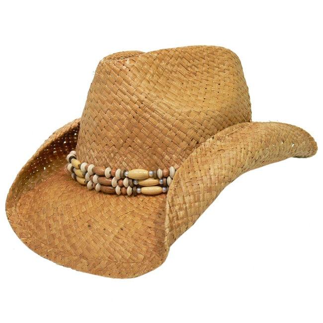 4659efa13 Adi Designs Rolled Brim Straw Cowboy Hat w/ Band