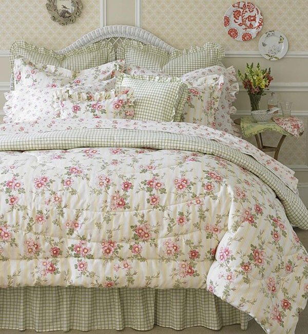 Laura Ashley Yorkshire Rose 4 Piece Comforter Set Free