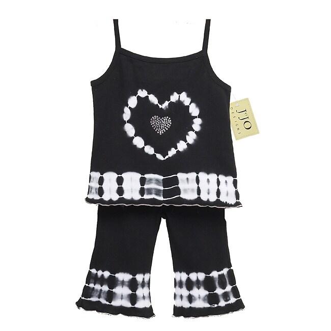 Sweet Jojo Designs 2-piece Tie-dye Heart Outfit - Black/White