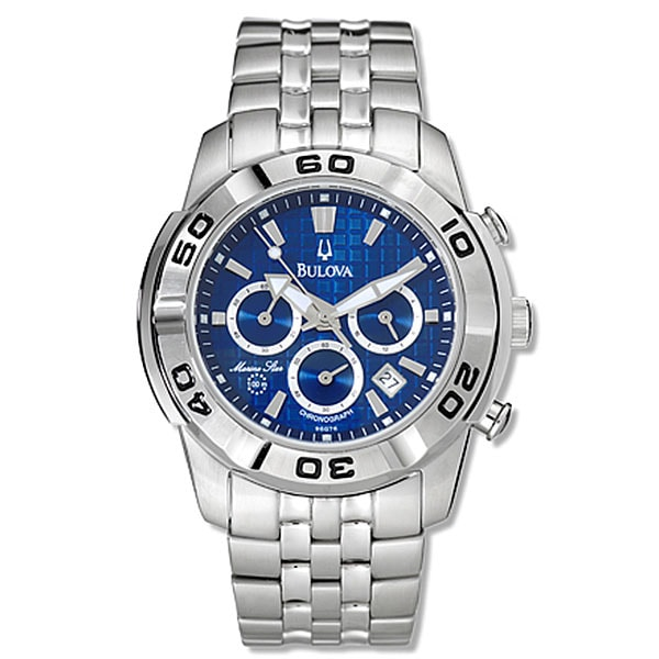 d7cfbc5c3 Shop Bulova Blue Dial Marine Star Chronograph Watch - Free Shipping Today -  Overstock - 2560447
