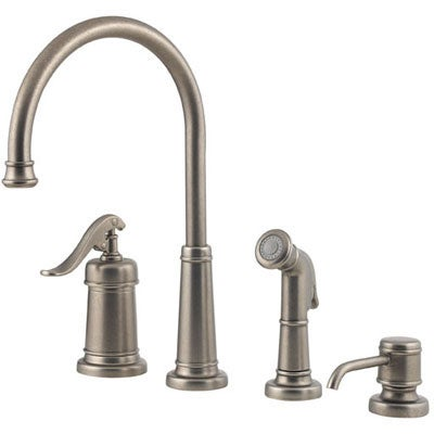 price pfister ashfield rustic pewter kitchen faucet free shop whitehaus collection vintage iii pewter 2 handle