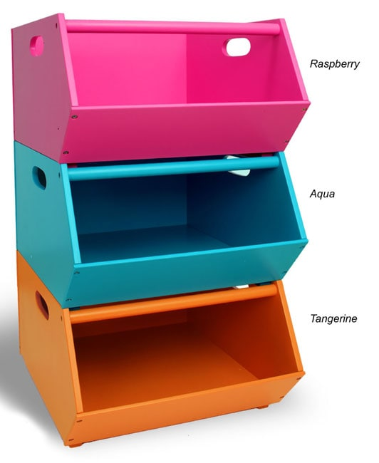 Bright Colored Stacking Storage Bins Free Shipping Today