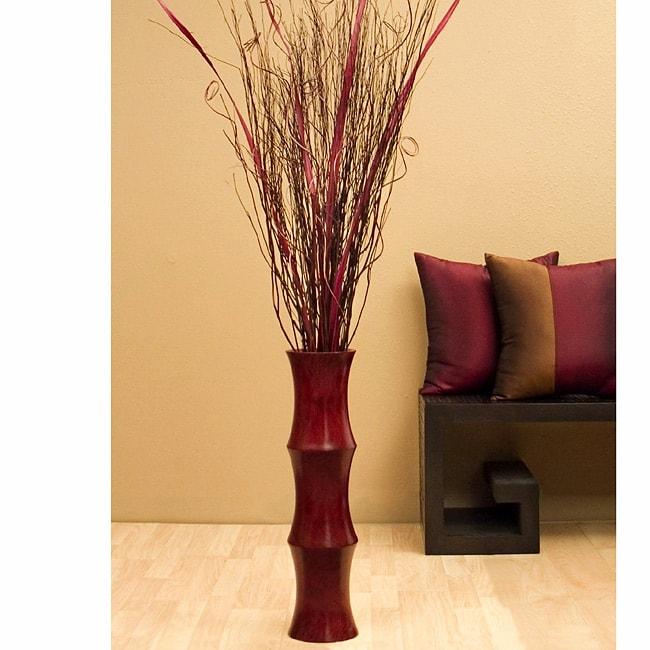 Scalloped Floor Vase & Burgundy Palm Stalks