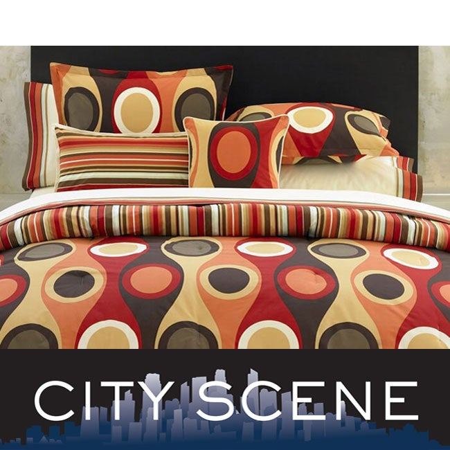 City Scene Retro Radar Camel/ Red 7-piece Bed in a Bag with Sheet Set
