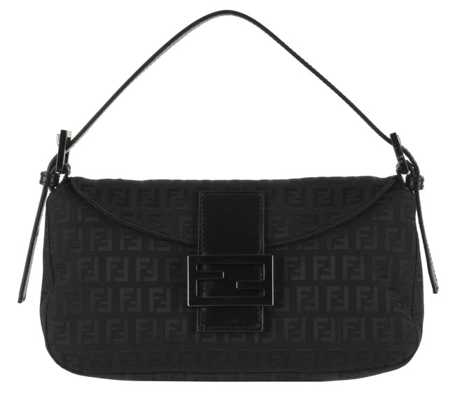 Shop Fendi Black Zucchino Jacquard  Zia  Shoulder Bag - Free ... 619b520a19cfc