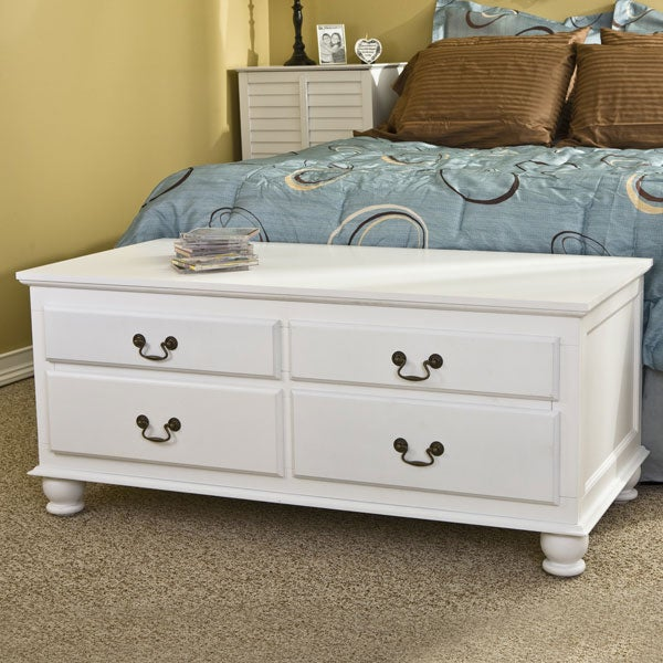 Windsor 4-drawer White Storage Bench