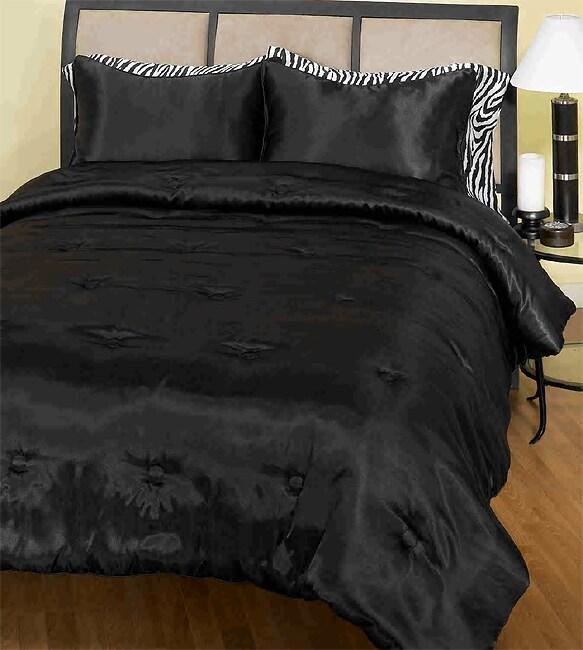 Black Satin 3-piece Mini Comforter Set