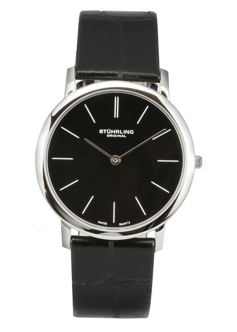 Stuhrling Original 'Ascot' Men's Black Thin Elegant Watch