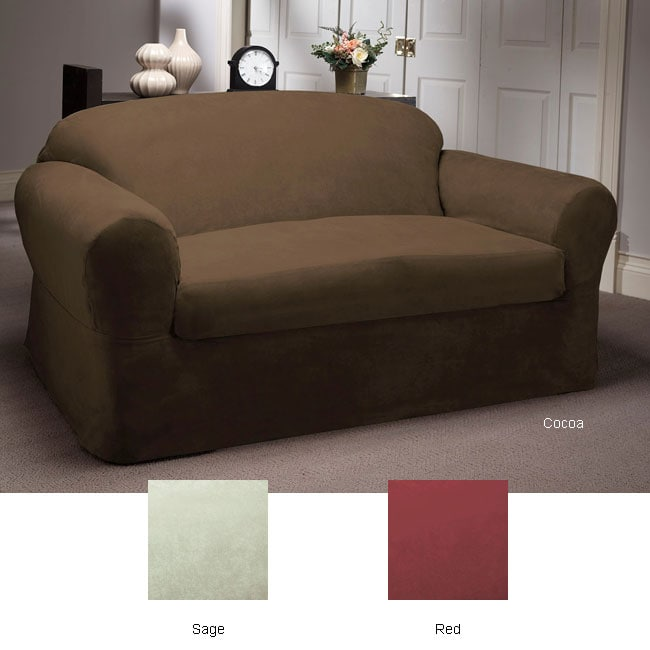 Two Piece Microsuede Stain Resistant Sofa Slipcover
