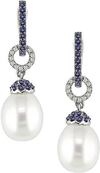 14k Gold 1/10ct TDW Diamond Cultured Pearl Earrings