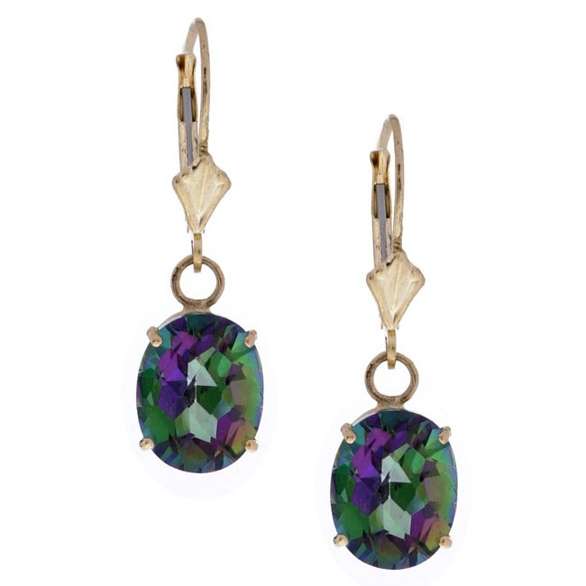 14k Yellow Gold Mystic Fire Topaz Earrings Free Shipping Today 2602915