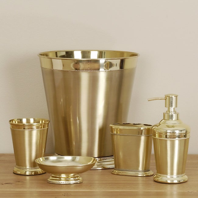 Gold orleans bathroom accessory set free shipping today for Gold bathroom wastebasket