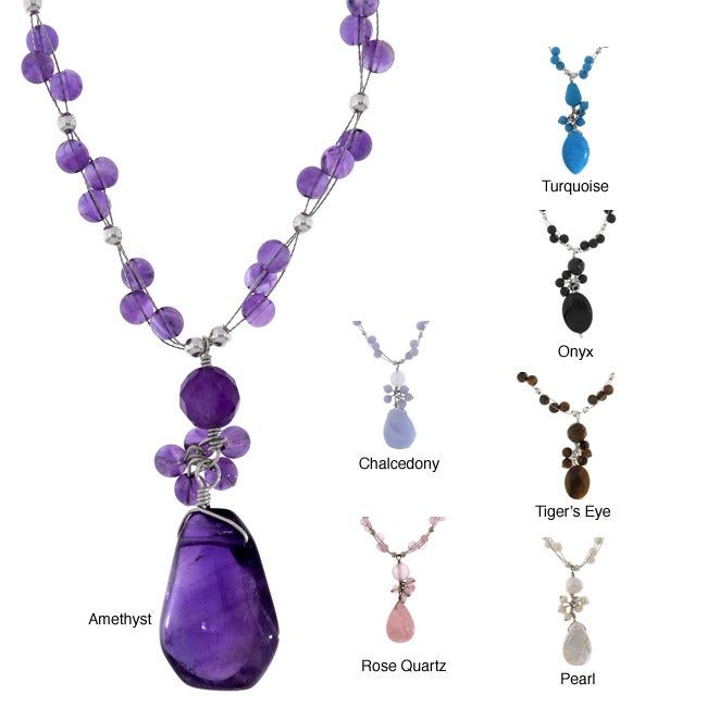Floating Semi-precious Beads Necklace