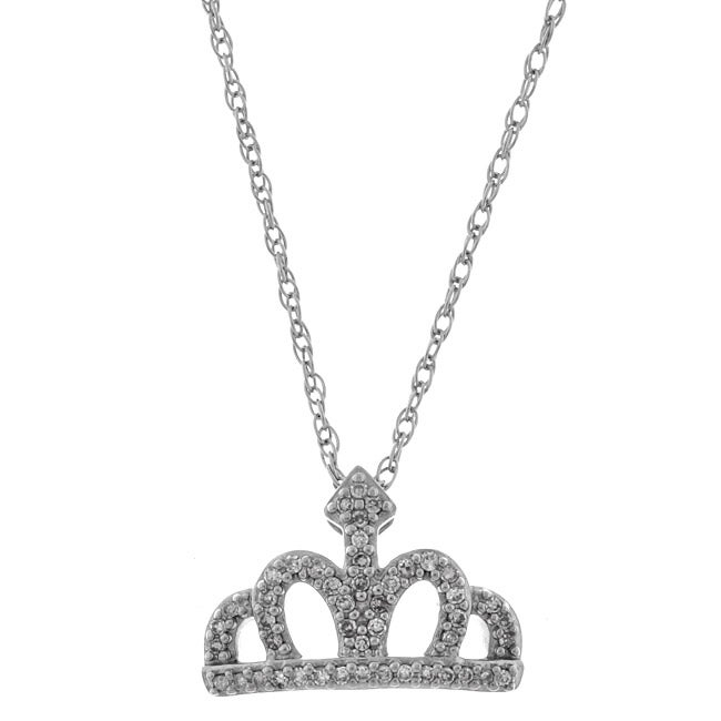 Sterling Silver Diamond Princess Crown Necklace - Thumbnail 0