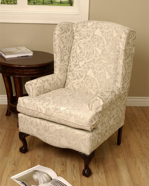 Linen Wing Back Chair Free Shipping Today Overstock