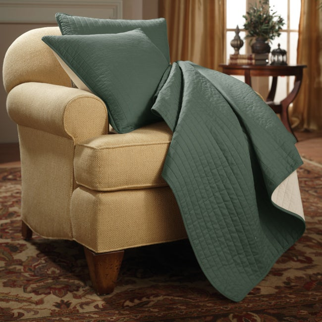 Simply Linear Green Throw and Pillow Set