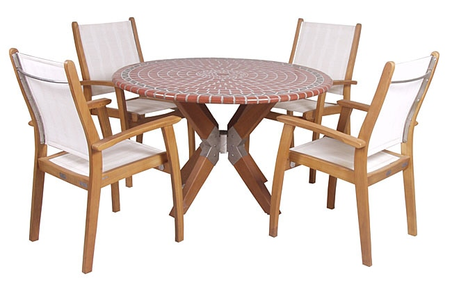 Mosaic Table And 4 Stacking Sling Chairs Free Shipping