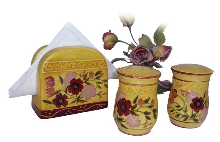 Floral Garden Napkin Holder/ Salt/ Pepper Shakers