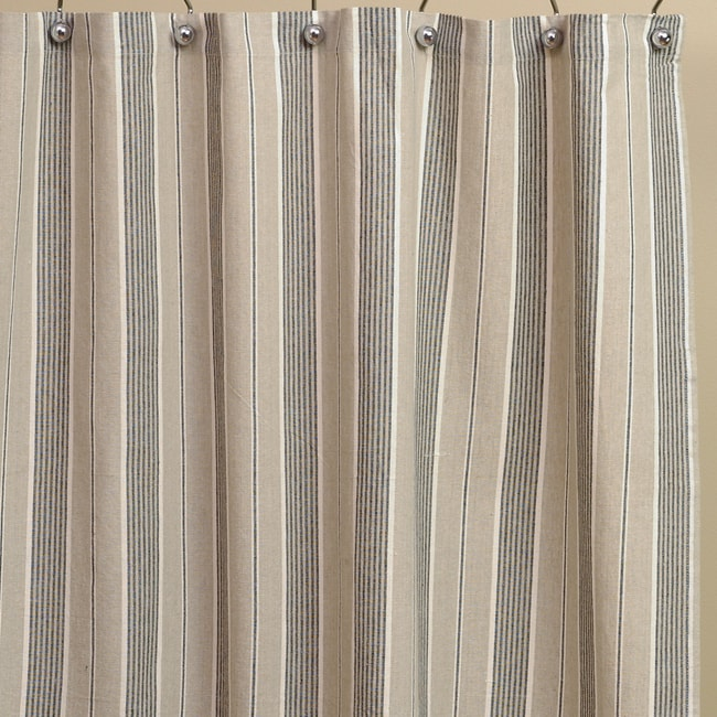 Tan Stripe Cotton Shower Curtain
