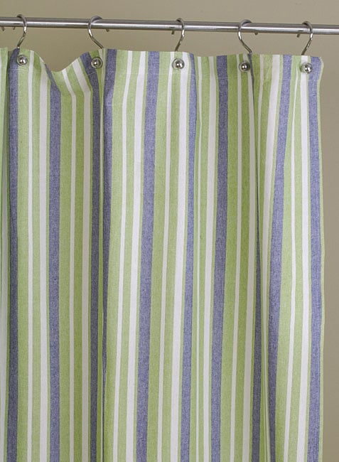 Blue And Green Stripe Cotton Shower Curtain Free Shipping On Orders Over 45
