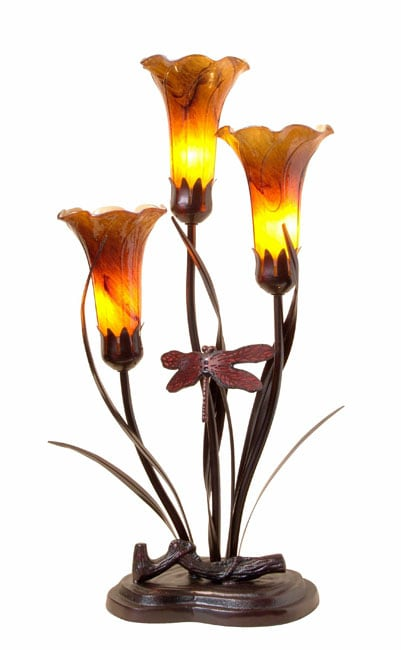 Tiffany Style Lily Table Lamp W Dragonfly Accent Free