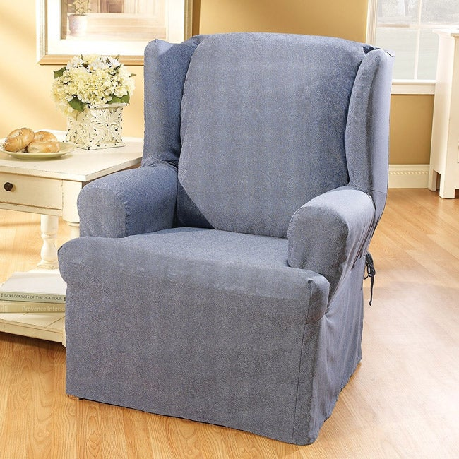 Shop Sure Fit Blue Jeans Wing Chair Slipcover Free