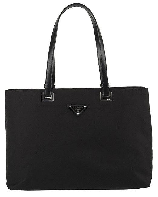 dc8197ac00c2 Shop Prada Nylon Tote Bag with Leather Trim - Free Shipping Today ...