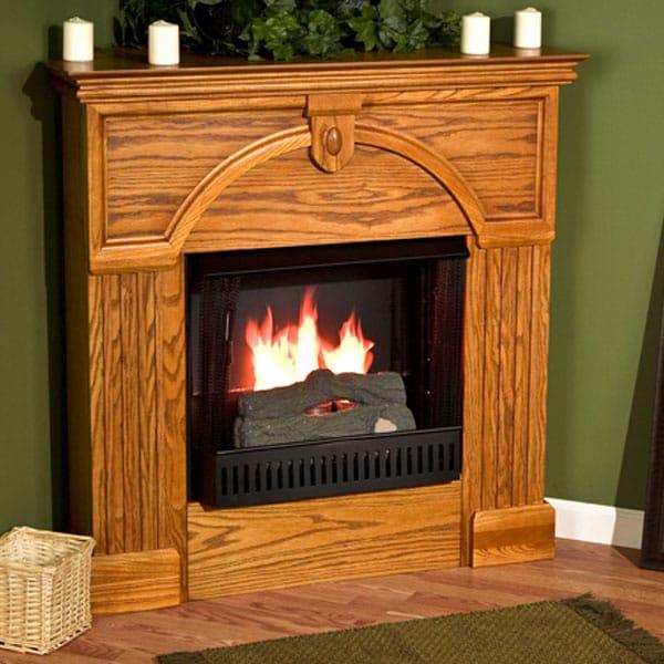 Turin Golden Oak Gel Fuel Corner Fireplace Free Shipping