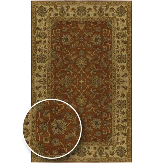 Hand-tufted Camelot Burgundy Wool Rug (10' x 14')