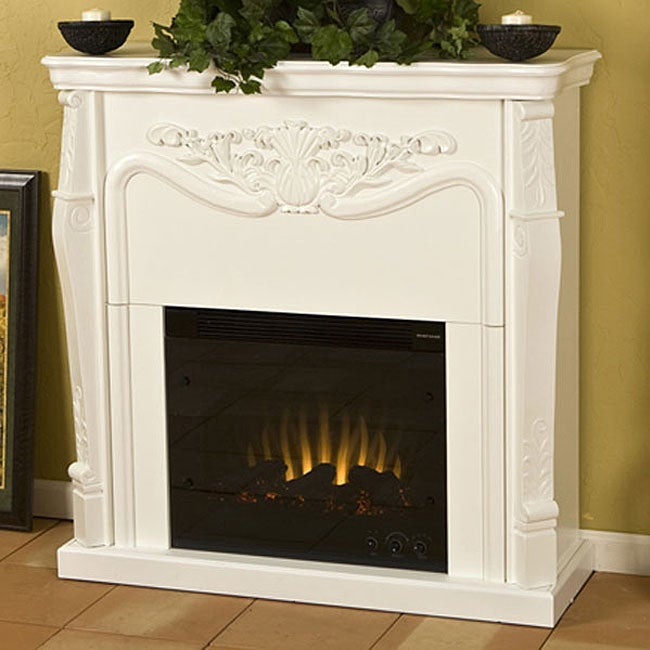 Vienna Antique White Electric Fireplace with Remote