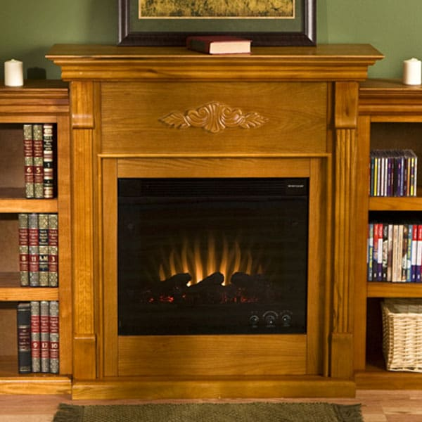dublin golden oak bookcase electric fireplace free shipping today 10852709. Black Bedroom Furniture Sets. Home Design Ideas