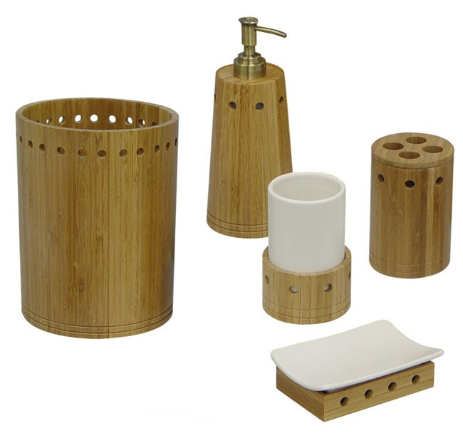 marvellous bamboo bathroom accessories | Shop Bamboo Bath Accessory Set - Free Shipping Today ...