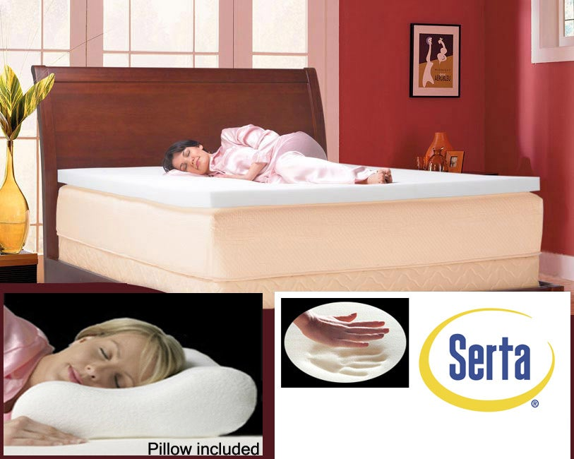 Shop Serta 3 Inch Memory Foam Mattress Topper With Contour Pillows