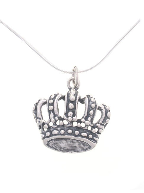 Journee Sterling Silver Crown Pendant Necklace