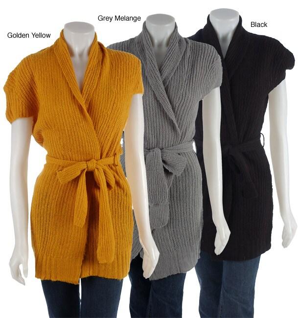 Talie Women's Cap Sleeve Belted Sweater Jacket