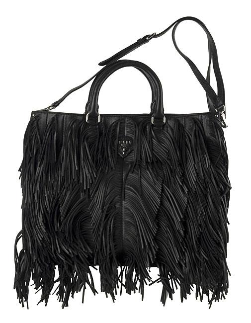 Prada Black Leather Fringe Handbag