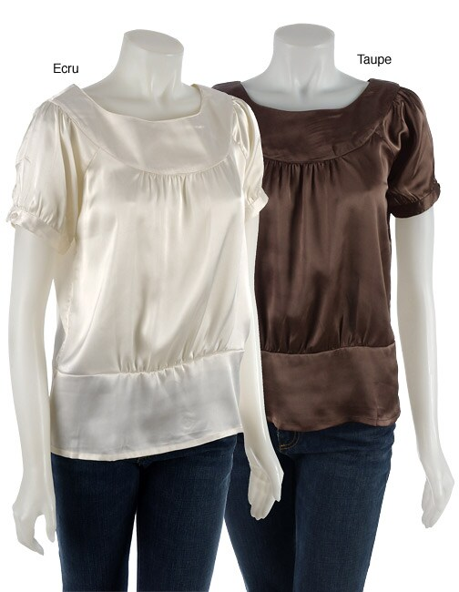 Coupe Short-sleeve Satin Blouse with Boat Neck