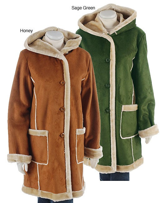 Tally Ho Hooded Faux Suede and Shearling Coat - Free Shipping