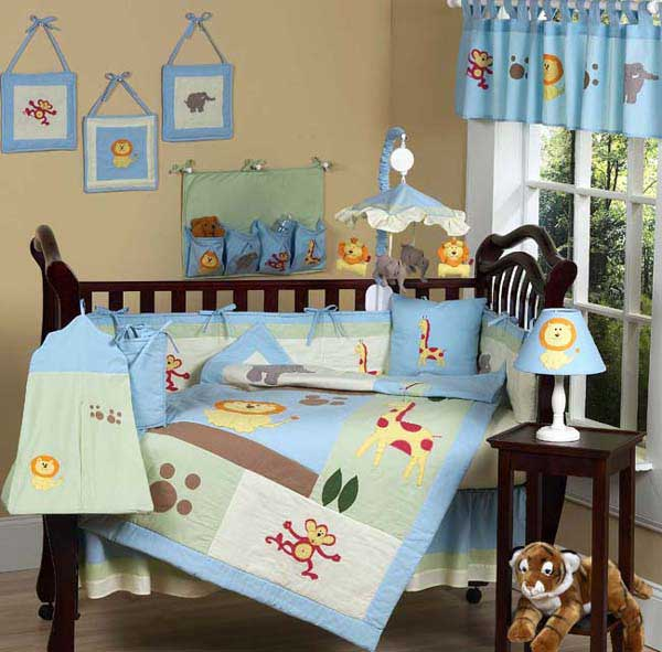 Jungle Safari 12 Piece Baby Bedding Set Free Shipping