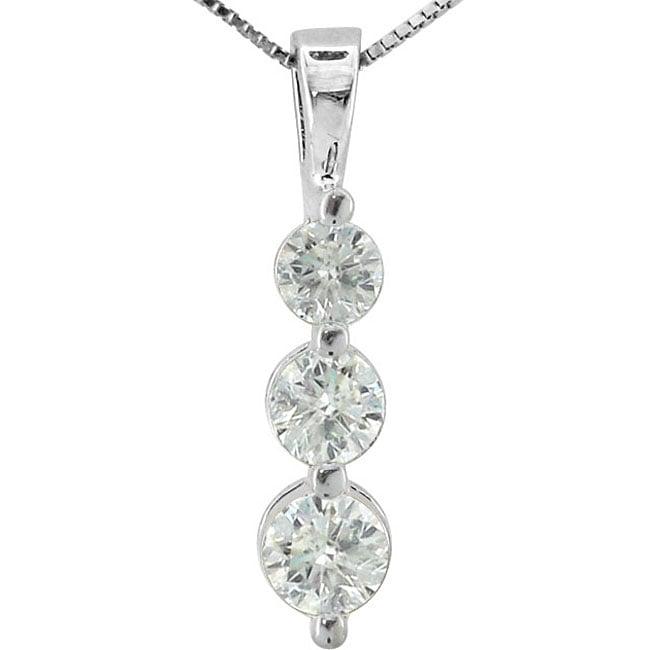 14k White Gold 1 1/2ct TDW Diamond Pendant (H-I, I1)