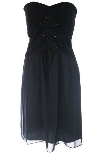 Sangria Beaded Ruched Strapless Dress