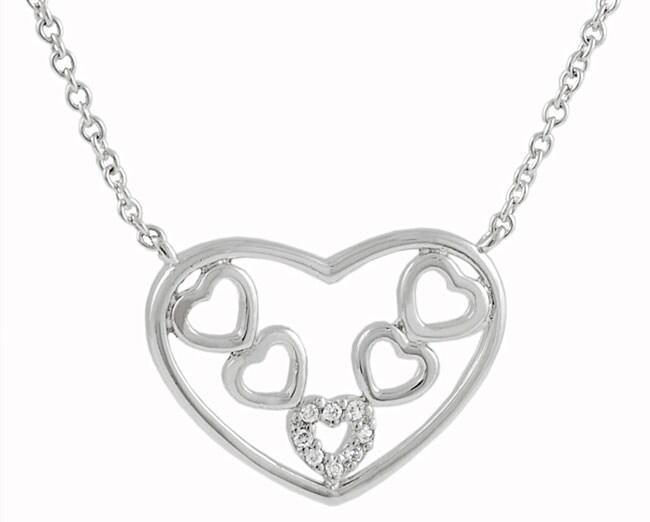 Sterling Silver Hearts Inside Heart Necklace
