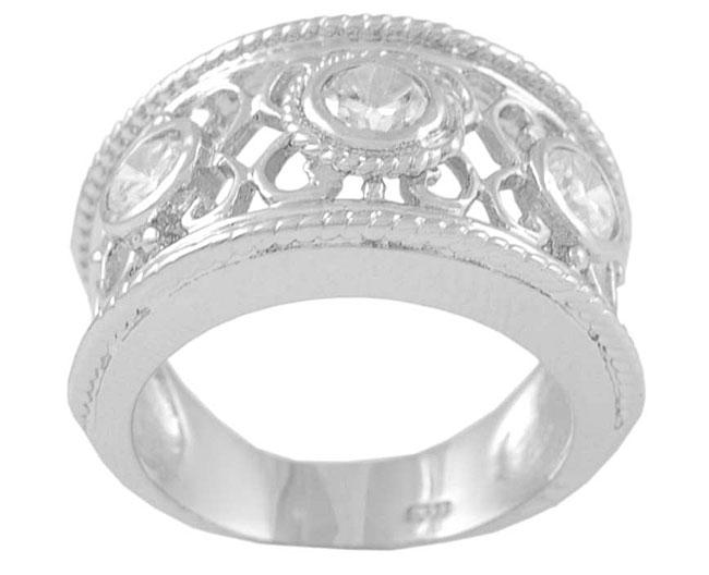 Journee Sterling Silver Filigree Cut with Bezel CZ Ring