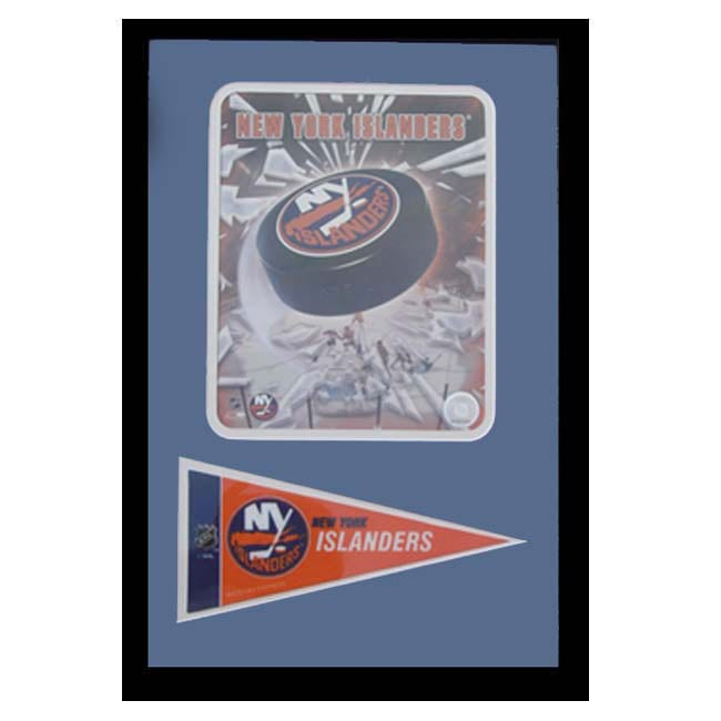 New York Islander Logo with Mini Pennant Frame