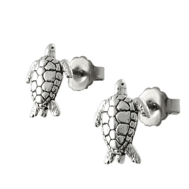 Journee Collection Sterling Silver Sea Tortoise Stud Earrings