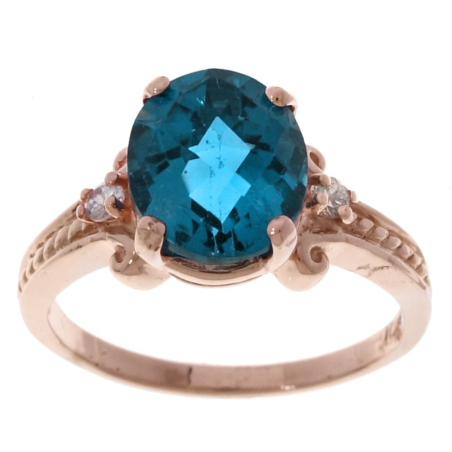 10k Rose Gold London Blue Topaz Ring Free Shipping Today