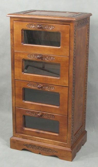 Glass Front 4 Drawer Lingerie Cabinet Free Shipping