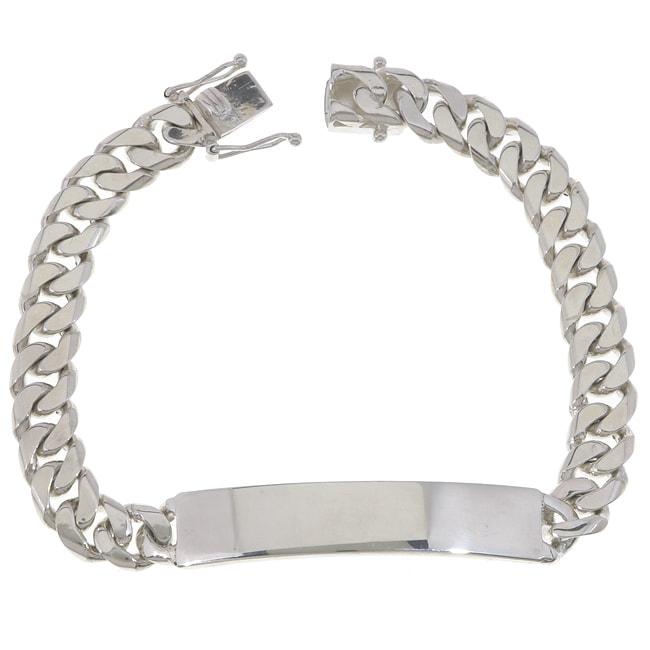 Roberto Martinez Sterling Silver 8 5 Inch Cuban Link Id Bracelet
