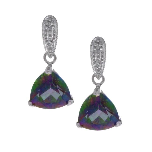 14k White Gold Mystic Topaz Diamond Earrings
